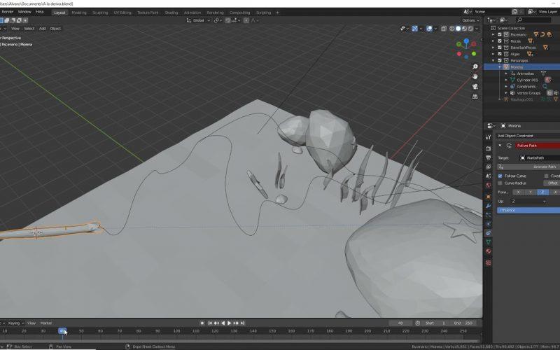 Animar serpiente Follow Path en Blender, Un usuario del foro pregunta cómo hacer esta animación. La restricción Follow Path coloca al objeto.