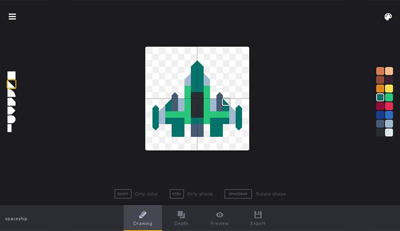 KenShape dibuja modelos 3D del Pixel Art, se trata de una pequeña utilidad para crear modelos 3D de Low Poly en modelos estilo pixel art.