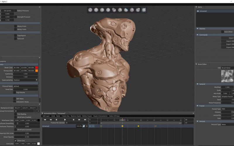 Sculptron de Otoy para esculpir cachés de animación.