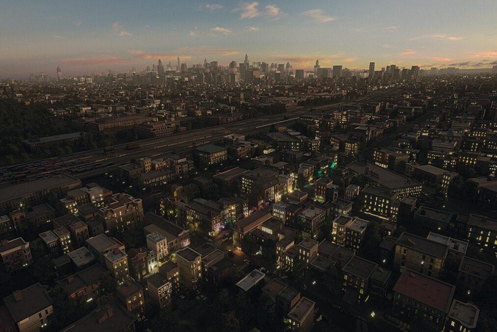 Algunos bloques de la ciudad de Chicago, como los cercanos a la tienda donde se vendió la guía de viaje Safe Negro, dependían de pantalla azul y CGI pesado.