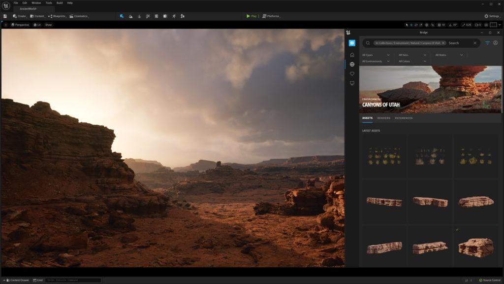 Quixel Bridge integrado en Unreal Engine y Megascans.