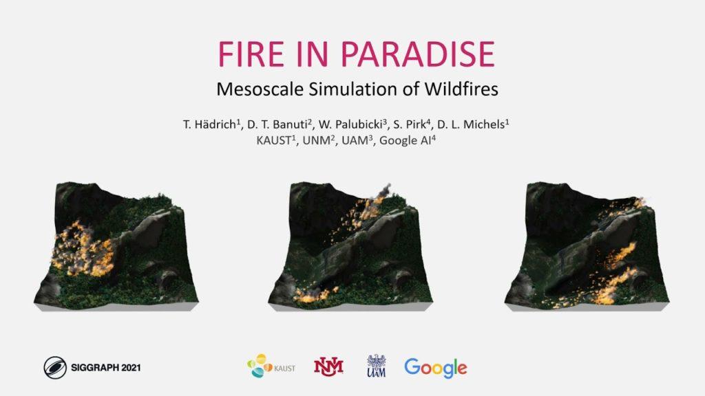 Simulación de incendios forestales realistas en 3D.