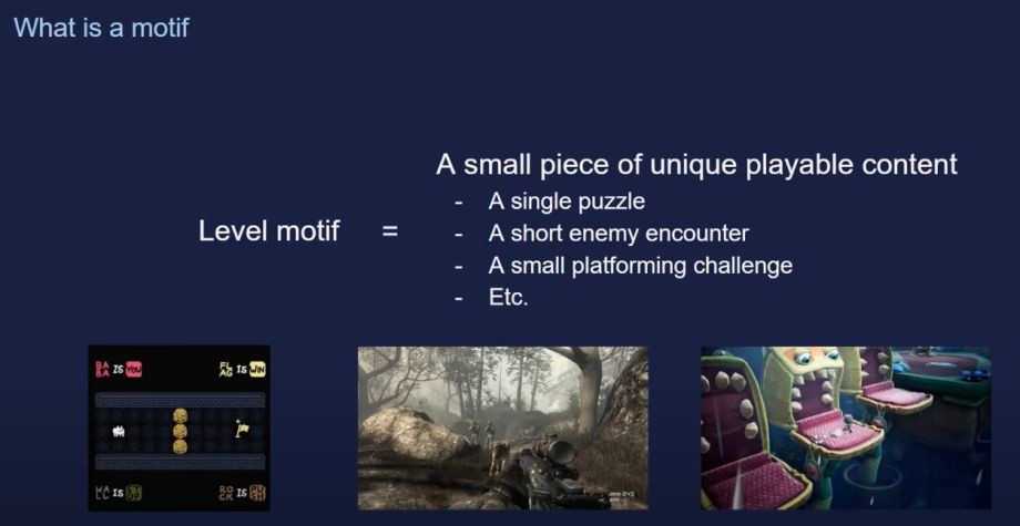 Motifing técnica para crear niveles en videojuegos